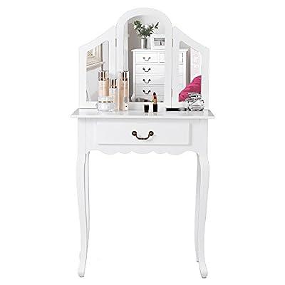 Life Carver® 3 foldable mirrors Dressing Table Makeup Desk dresser Bedroom furniture - inexpensive UK light shop.