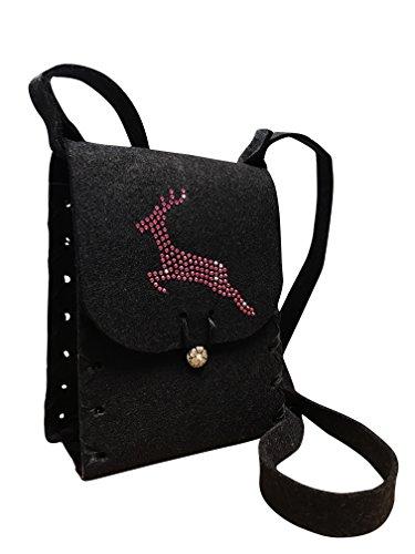 Edelnice Trachtenmode Handgearbeitete Filz Dirndltasche schwarz mit pinkem Swarovski Hirsch