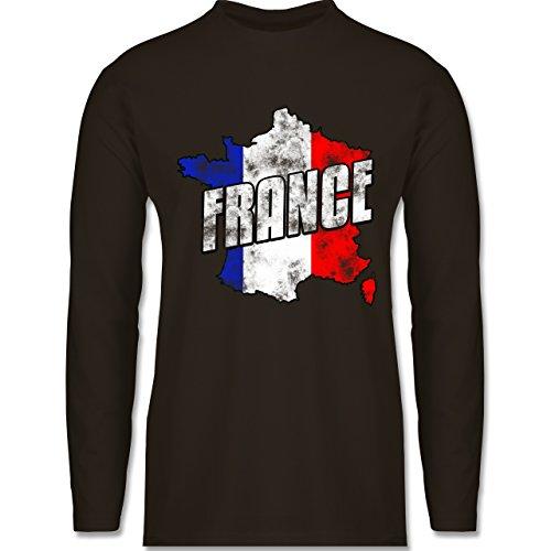 Shirtracer Fußball-WM 2018 - Russland - France Umriss Vintage - Herren Langarmshirt Braun