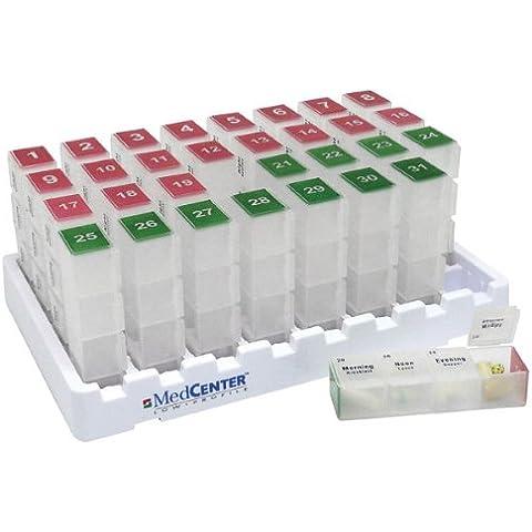 MedCenter Systems - Caja Organizadora De Pastillas Mensual Con Recordatorio De Alarma Con Voz – El Dispensador Te Ayudará A Tomar La Medicación Adecuada En El Momento Adecuado - Discreto sin Reloj