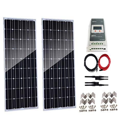 Auecoor - starter kit monocristallino a energia solare da 200 w (2 pannelli solari da 100 w) con regolatore di carica 20 a mppt per camper, campeggio, barca, roulotte, camper e batteria da 12 v