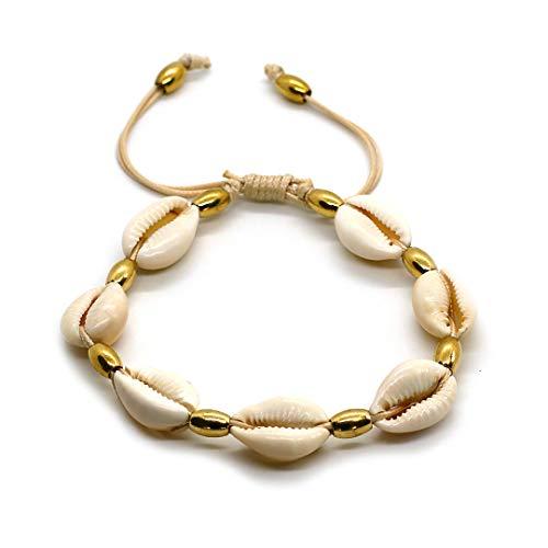 BANDERY Kaurimuschel Fußkettchen, Fußkette mit beigem Stoffband. Kreiere Deinen persönlichen Beachstyle mit der BANDERY Kaurimuschelkollektion!