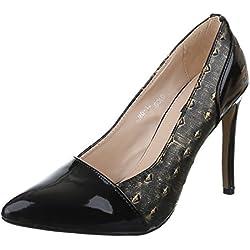 Damen Schuhe, RMD1316, PUMPS, HIGH HEELS, Synthetik in hochwertiger Lederoptik und Lacklederoptik, Schwarz Gold, Gr 38