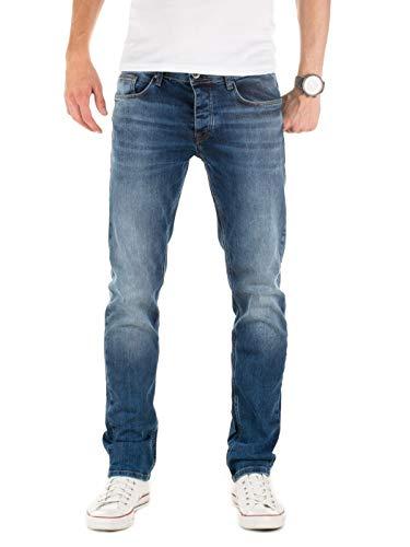 WOTEGA Herren Jeans Alistar Slim fit - Denim Hose Männer Jeanshose Stretch - Used Look, Blau (Ensign Blue 194026), W34/L34 -