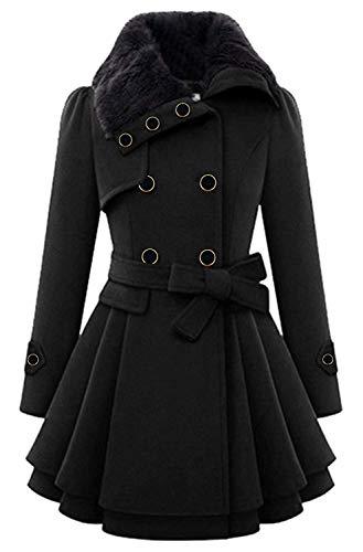 Aceshin Damen Mantel Winter Mantel Elegant Vintage Schwarz Lang Zweireihig Revers Schlack Trenchcoat Wollmantel Wintermantel Outwear