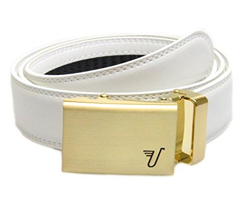 Mission Belt Men's Ratchet Belt - King - Gold Buckle / White Leather, Large (36 - 38)