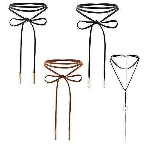Flongo collana girocollo in pelle con perline per le donne ragazze girocollo collana velluto sezione lunga(4 pezzi)