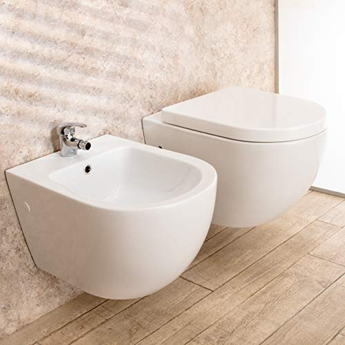 Import For Me Sanitari Sospesi Vortix in Ceramica WC Senza brida Tavoletta e Bidet