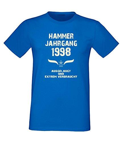 Sprüche Motiv Fun T-Shirt Geschenk zum 19. Geburtstag Hammer Jahrgang 1998 Farbe: schwarz blau rot grün braun auch in Übergrößen 3XL, 4XL, 5XL blau-02