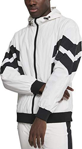 Urban Classics Herren Jacke Crinkle Panel Track Jacket Wht/Blk Größe: M (Panel-track)