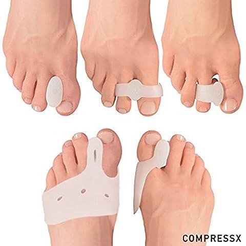 COMPRESSX 10-teiliges Set: Zehenspreizer und Hallux-valgus-Entlastungssocken - bei Fußschmerzen, Fußballenschmerzen, Mittelfußknochenschmerzen &