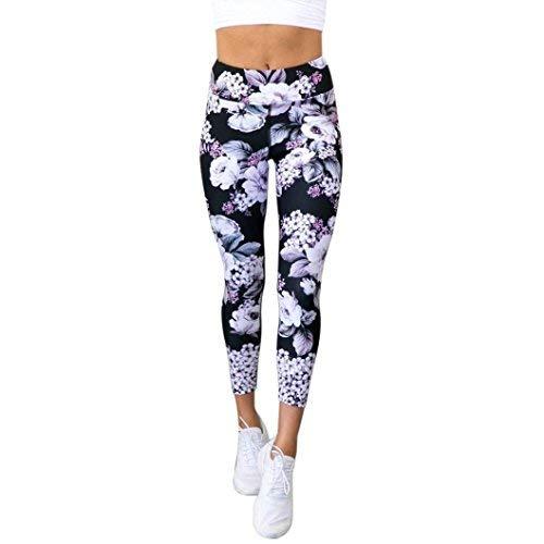 Vovo Leggings❤️❤️Vovotrade Frauen Damen Blumendruck Sport Gymnastik Yoga laufende Eignungs Gamaschen Hosen hohe Elastizität athletische Hosen (Schwarz, XL)
