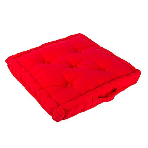 Homescapes Coussin de Chaise de Couleur Rouge Fait en 100% Coton de 40x40 cm pour Chaise de Salon et Chaise de Jardin