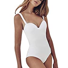 POachers -Maillot de bain Femme 1 Pièce Push Up Bikini Amincissant Sexy Jumpsuit -Solid V Neck One Piece Swimsuit Maillot de Bain 1 pièce Mode Bikini