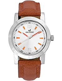 Orlando® Branded Japan Movement With White Dial & Brown Leather Belt & Orange Highlights Watches For Men - W1304TSOXZXZ