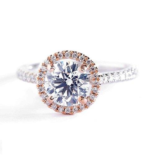 Verlobungsring 18 Karat Weißgold 1,25 Karat SI2 H Rundschliff zweifarbig GIA-zertifizierter Diamant