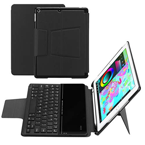 for ipad air 1/air 2 /pro 9.7 /ipad 9.7(2018/2017) Separable Tablet Keyboard Case Intelligent American Wireless Keyboard with Sleep Function and Pen Holder (Black) (American Wireless Keyboard)