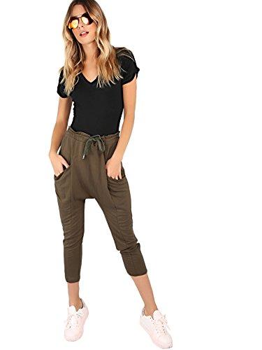 MAKEMECHIC Damen Kurzarm Tops Basic V-Ausschnitt Body Body Dessous - schwarz - Mittel - 5