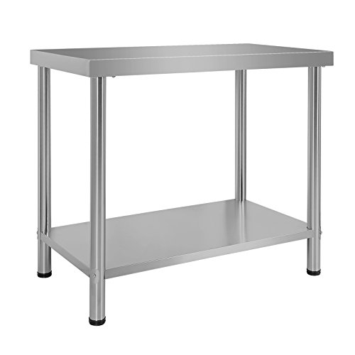 Wiltec Tavolo di Lavoro in Acciaio Inox 100 x 60 x 85 cm Tavolo da Giardino