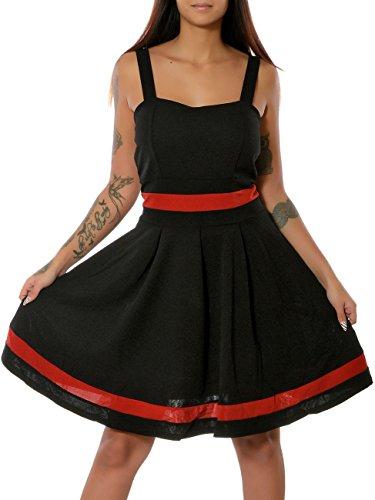 Damen Rockabilly 50er Jahre Sommer Kleid Pin-Up No 15864 Schwarz