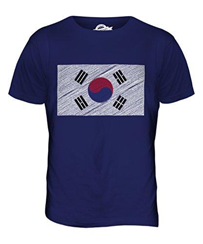 CandyMix Südkorea Kritzelte Flagge Herren T Shirt Navy Blau