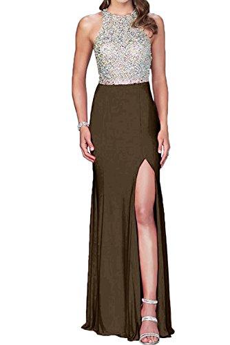 Toscane mariée en perles pour femme en chiffon 2–support abendkleider ball prom festkleider longue Chocolat