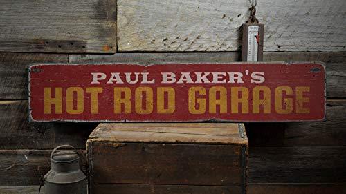 YCCCYOZ Hot Rod Garage Holzschild, personalisiertes Shop-Besitzernamen-Dekor, personalisiertes Geschenk für Autoliebhaber, rustikales Holzschild für Bauernhaus, Vintage-Holzschild, Dekorationen -