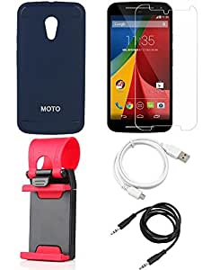 NIROSHA Tempered Glass Screen Guard Cover Case USB Cable Mobile Holder for Motorola G2 - Combo