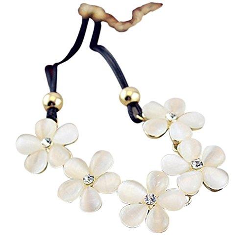 SanKidv Damenmode Weiß Kristall Kirschblüten Blume Charm Choker -