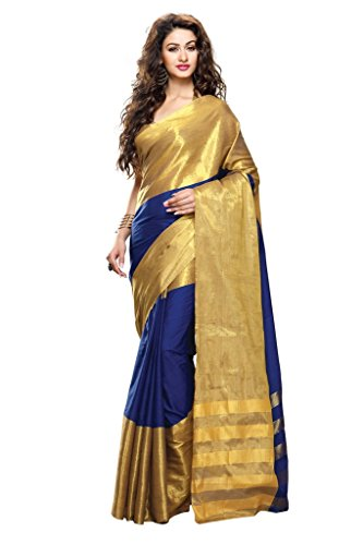 Roop Kashish Women's Cotton Saree(Zuri_Blue And Gold)