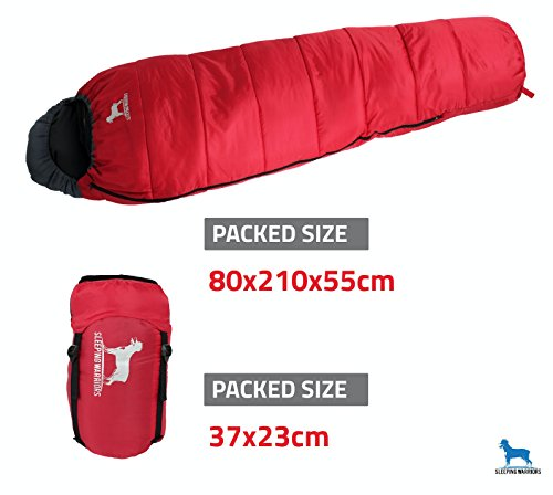 Mummy Sleeping Bag - Lightweight Extra Warm Hollow Fibre 350g Filling & Breathable - 3-4 Season - 100% Waterproof Compression Case - Camping Gear for Music Festivals, DoE Awards & Hiking