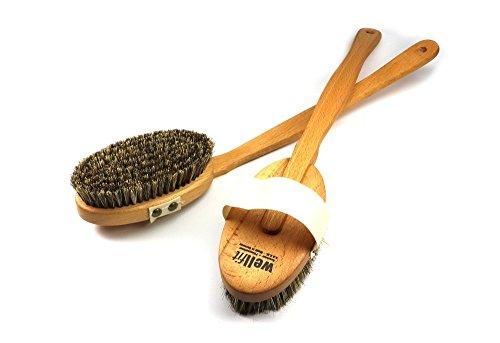 Brosse de santé Wellfit avec manche amovible - brosse dorsale, brosse de bain, brosse de massage - bois de hêtre étuvé+huilé avec un mélange de poils de crin et de fibres naturelles fortes, L: 440 mm