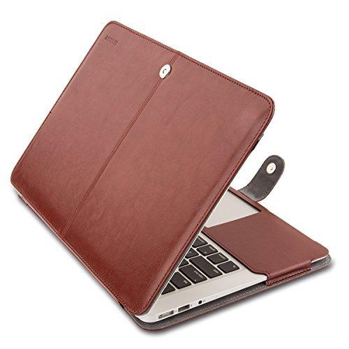 MOSISO Premium Quality PU cuir couverture du livre Clip On Folio Case Sleeve avec fonction de support pour 13 pouces Macbook Air (A1466 & A1369), Brun, Coques iphone