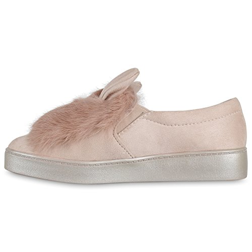 Damen Slip-ons Kroko Optik Sneakers Metallic Slipper Bequem Altrosa Plüsch