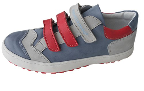 Jungen-Kinder-Schuhe-Sneaker- echt Leder-Halbschuhe-Klettverschluss.VOLLLEDER - atmungsaktiv-feuchtigkeitsregulierend-dehnfähig-strapazierfähig!pa Blau
