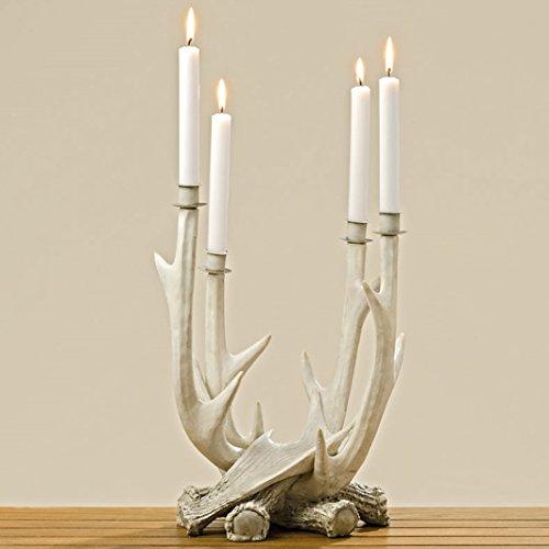 Kerzenständer Kerzenleuchter Geweih Kunstharz weiß H 38 cm