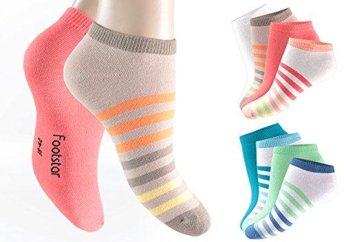 8 Paar Damen Sneakersocken farbig mit Ringel und Uni Socken Arbeit Freizet Sport 35-38