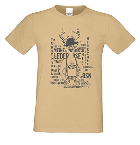 Meine Lederhose ::: Sprüche-Fun-Hirsch-T-Shirt für Herren Freizeit Volksfest Oktoberfest Tracht Outfit - Geschenk Männer Farbe: sand Sand