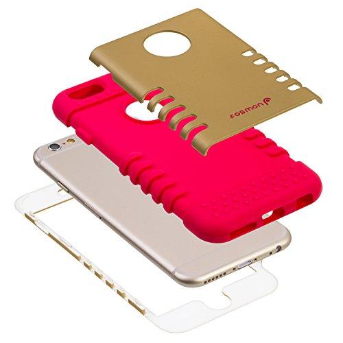 "Fosmon HYBO-VAULT Detachable Hybrid Silicone + PC Case for Apple iPhone 6/6s (4.7"") - Black (Silicone) / Black (PC) Rosso/oro"
