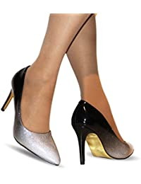 Rock on Styles Ladies Two Tone Patent Party Evening Mid High Heel Court Shoes Size-