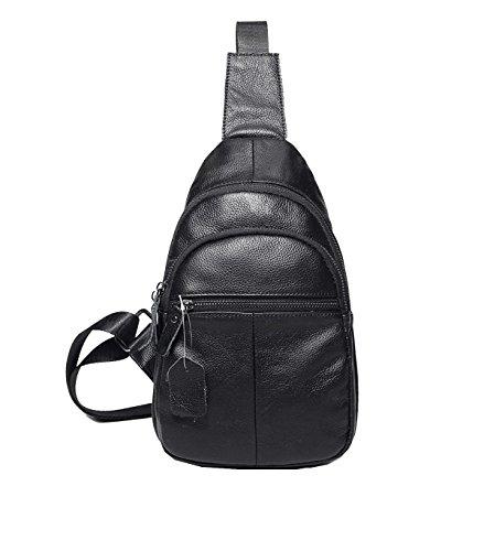 Yy.f Herren-Brust-Pack Ein Paar Kleinen Quer Universal-Pack Herren Ledertasche Umhängetasche Brusttasche Diagonalen Paket Business-Aktentasche (schwarz Und Grau) Black