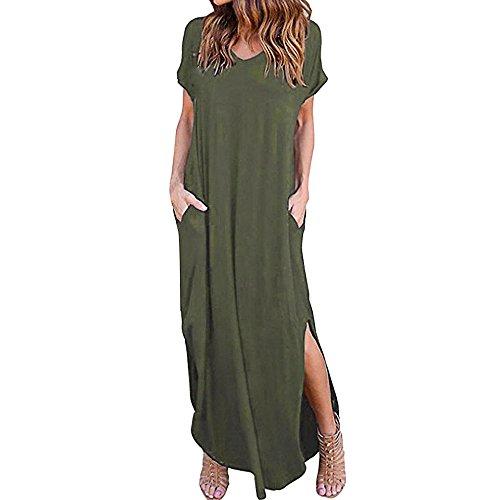 VEMOW Damenmode Tasche Lose Kleid Damen Rundhalsausschnitt beiläufige Tägliche Lange Tops Kleid Plus Größe(Z2-Armeegrün, ()