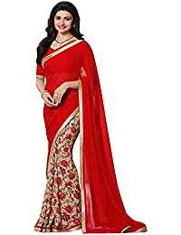 Women's Clothing Designer Party Wear Red Georgette Wedding Saree With Blouse Piece (Georgette,Red, Free Size)