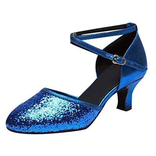 Damen Standard Latein Funkeln Tanzschuhe Frauen Salsa Tango Ballsaal Tanzen Schuhe Hochzeit Abendschuhe, Celucke Klassische Pumps Frühling Elegante Brautschuhe (Blau, EU39)