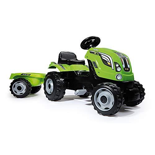 Smoby - 710111 - Tracteur Farmer XL + Remorque - Capot Ouvrable - Vert