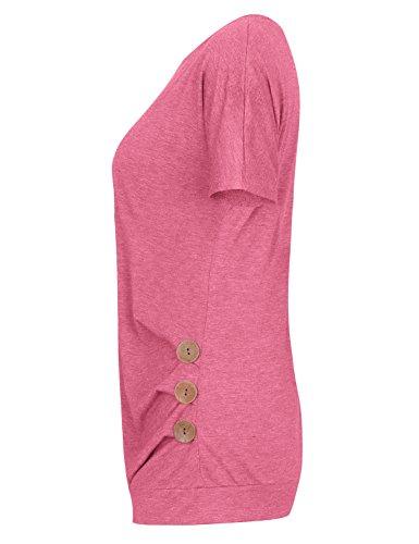 Tooklanet Damen Kurzarm Lockere Einfarbig Tops T-Shirts Tunika mit Zierknöpfe Rosa