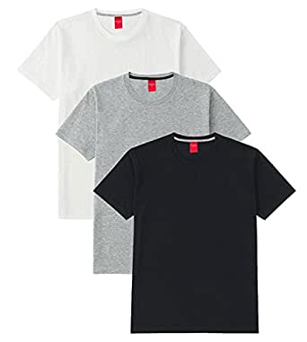 Scott International  Men's Basic Cotton Round Neck Half Sleeve Solid T-shirts (Black,White,Grey) (Small), Pack of 3