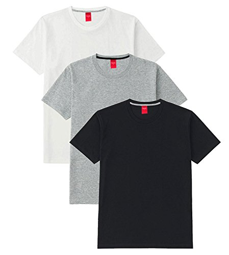 Scott International Men's Basic Cotton Round Neck Half Sleeve Solid T-shirts (Black,White,Grey) (XX-Large), Pack of 3