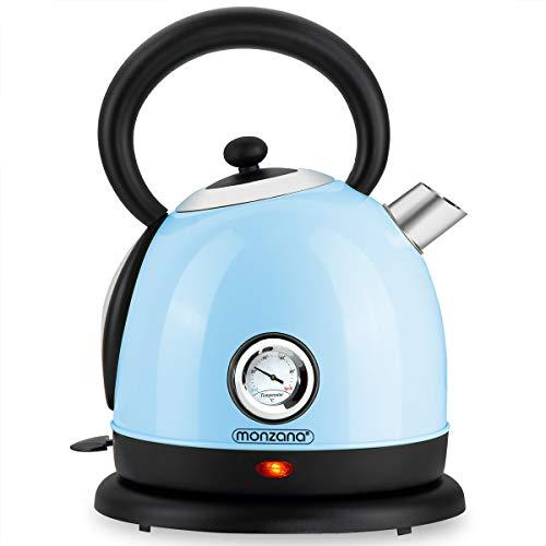 monzana Wasserkocher BPA frei Edelstahl kabellos Retro Design blau 1,8l 2200W