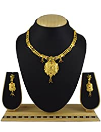 Pourni Gold Finish Necklace Set With Earring For Bridal Jewellery Necklace Set - PMNK03